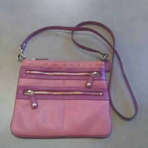Coral Pink Coach Leather Crossbody